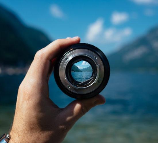 A beautfiful view through a circular lens