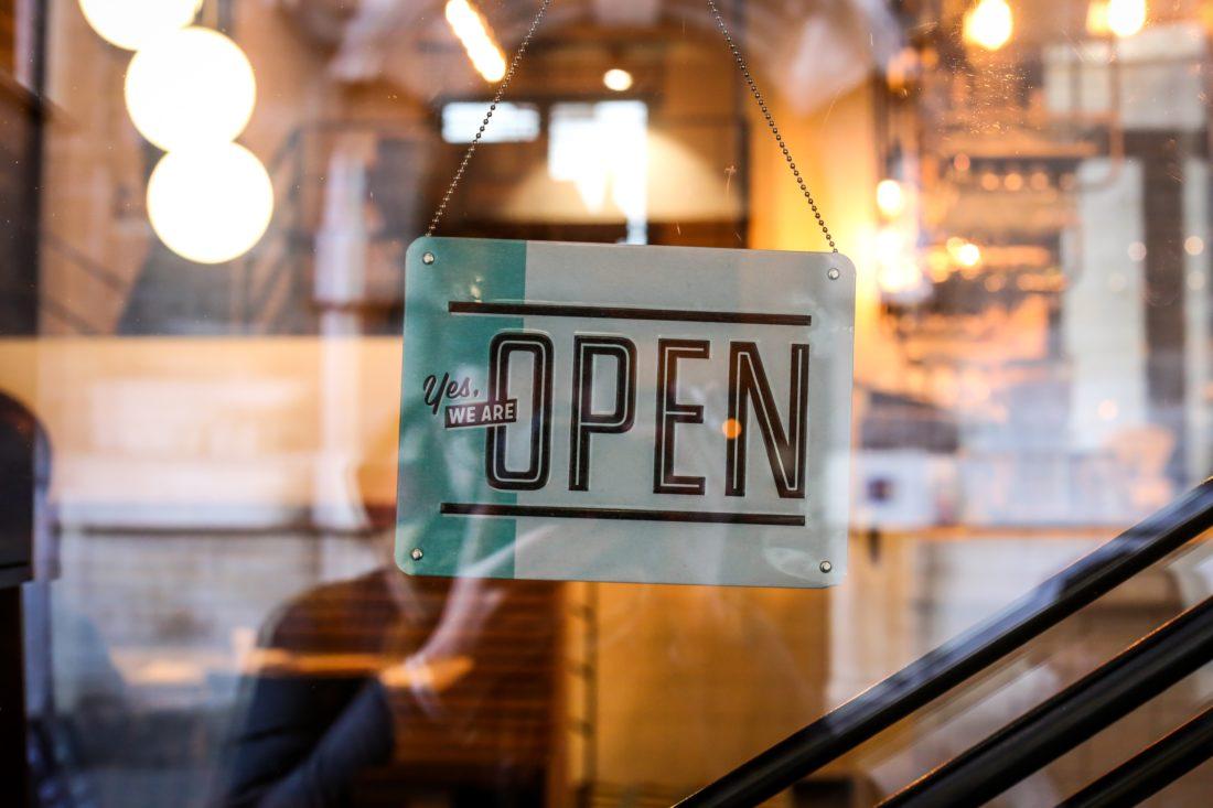 Open sign in the door